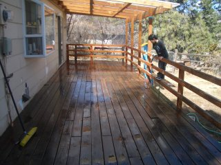 wood deck, cleaned